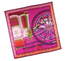 Hermes Carre 90 Scarf Stole BALADE EN BERLINE Pink Carriage Silk Auth Ne... - $488.41