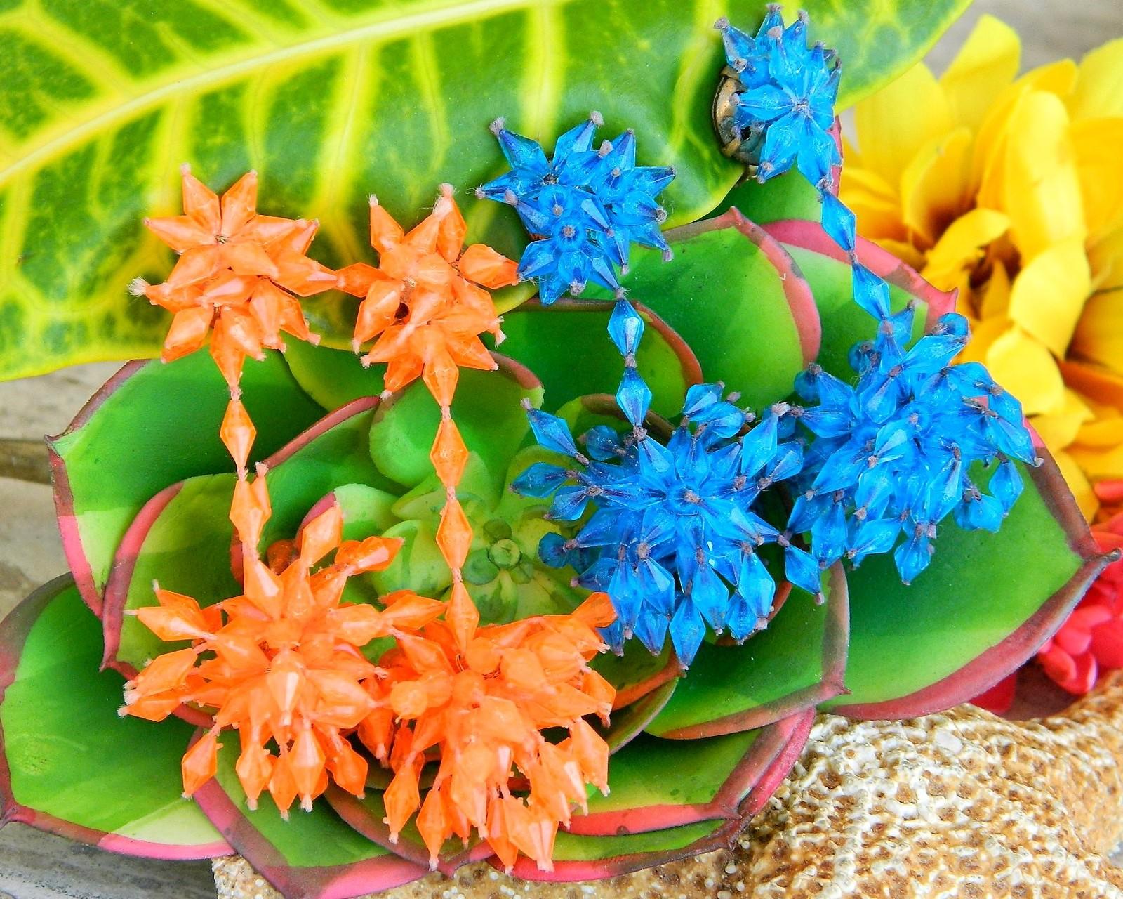 2 Vintage Pairs of Plastic Dangle Earrings Blue Orange Beads Cluster