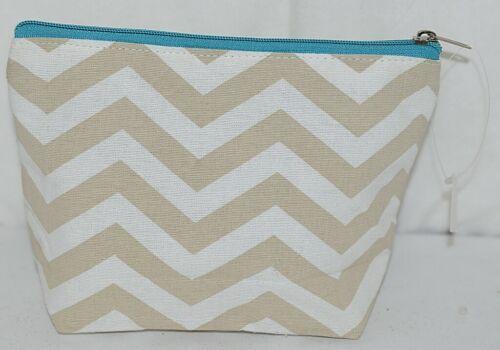 Ganz Brand ER39002 Chevron Design Beige Tan Teal Zipper Makeup Bag