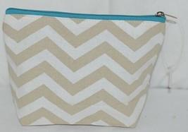 Ganz Brand ER39002 Chevron Design Beige Tan Teal Zipper Makeup Bag image 1