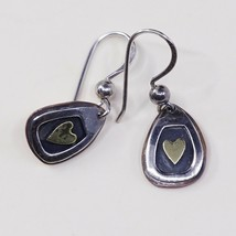Vtg two tone handmade Sterling 925 Silver Earrings W/ Beads Heart N Copper - $22.32