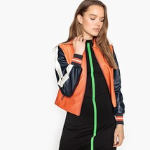 New Arrival Leather Colour-block Trendy sports Jacket Classic collar Ribbed cuff