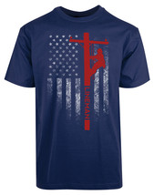 American Flag Lineman Rod New Men's Shirt Stylish Liberal Coolest Casual... - £17.45 GBP
