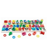 Muyindo Kids Wood Sorting Puzzles Toys Sorter ABC Letters Number and Mat... - $25.93