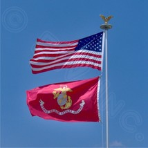WHOLESALE 2 FLAGS UNITED STATES MARINE CORPS FLAG 3 X 5 USMC AND AMERICA... - $7.93