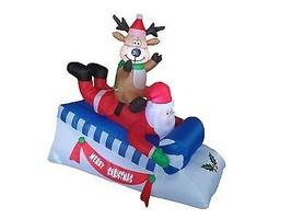 Christmas Inflatable Santa Reindeer Deer Moose Sleigh Sled Outdoor Decor... - $75.00