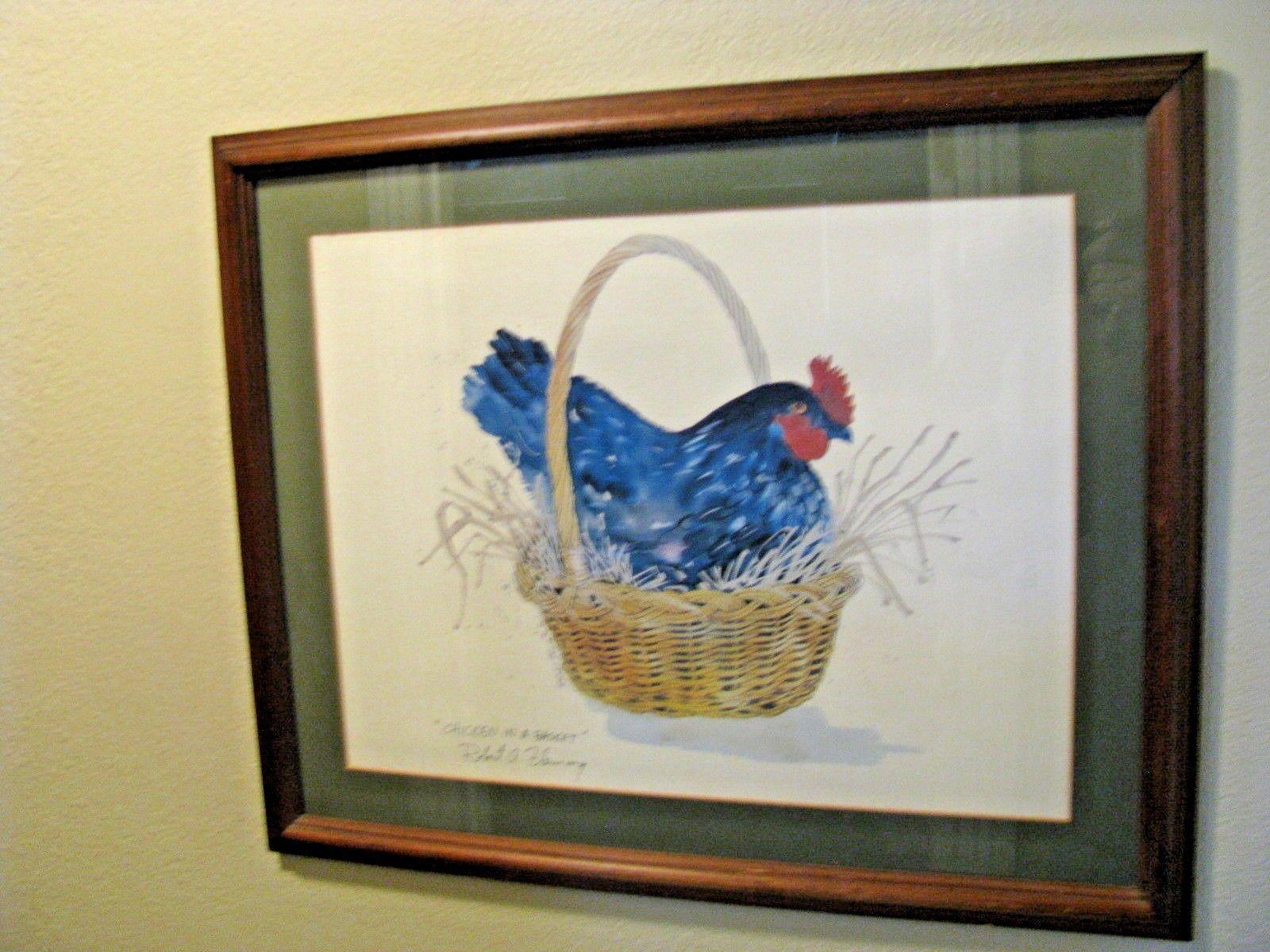 Primary image for Robert A. Fleming 'Chicken in a Basket' Signed Lithograph Print 1980 Framed Mat