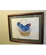 Robert A. Fleming 'Chicken in a Basket' Signed Lithograph Print 1980 Fra... - $64.35