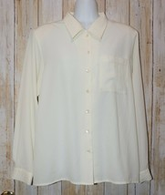 Womens Ivory Yves St Clair Long Sleeve Shirt Blouse Size 12 excellent - $6.92