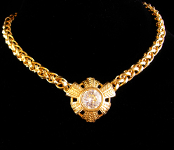 Vintage huge chain necklace - Large gold rhinestone choker - unsigned co... - $125.00