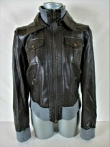 EXPRESS womens Large L/S brown FAUX LEATHER full zip 4 pocket LINED jack... - $59.77