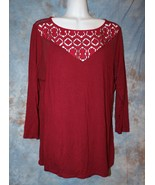 Womens Burgundy Lace Accent BKE 3/4 Sleeve Shirt Size Large excellent - $7.91