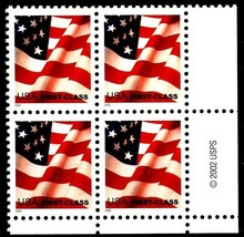 Waving Flag ND Water-Activated ZIP USPS 2002 Block of 4 LR MNH Scott's 3620 - $8.32