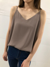 Women Summer V-Neck Sleeveless Chiffon Blouse Coffee Brown White Bridesmaids Top