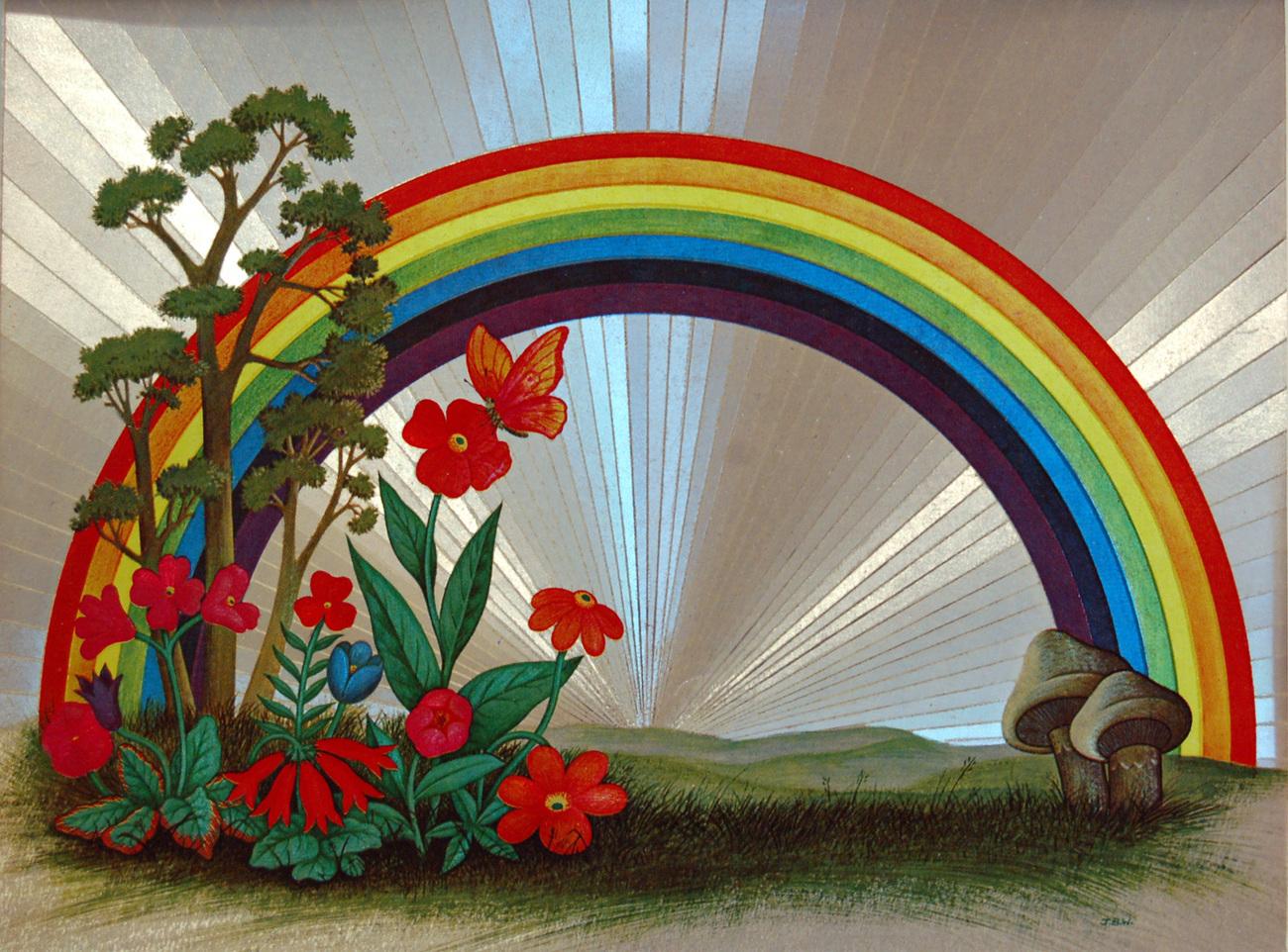 654434 rainbow with flowers