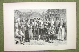 NORWAY Costume People of Hardanger Saetersdalen - 1880s Antique Print - $8.44