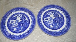 VINTAGE ALFRED MEAKIN ENGLAND OLD BLUE WILLOW DINNER PLATES SET - $19.79