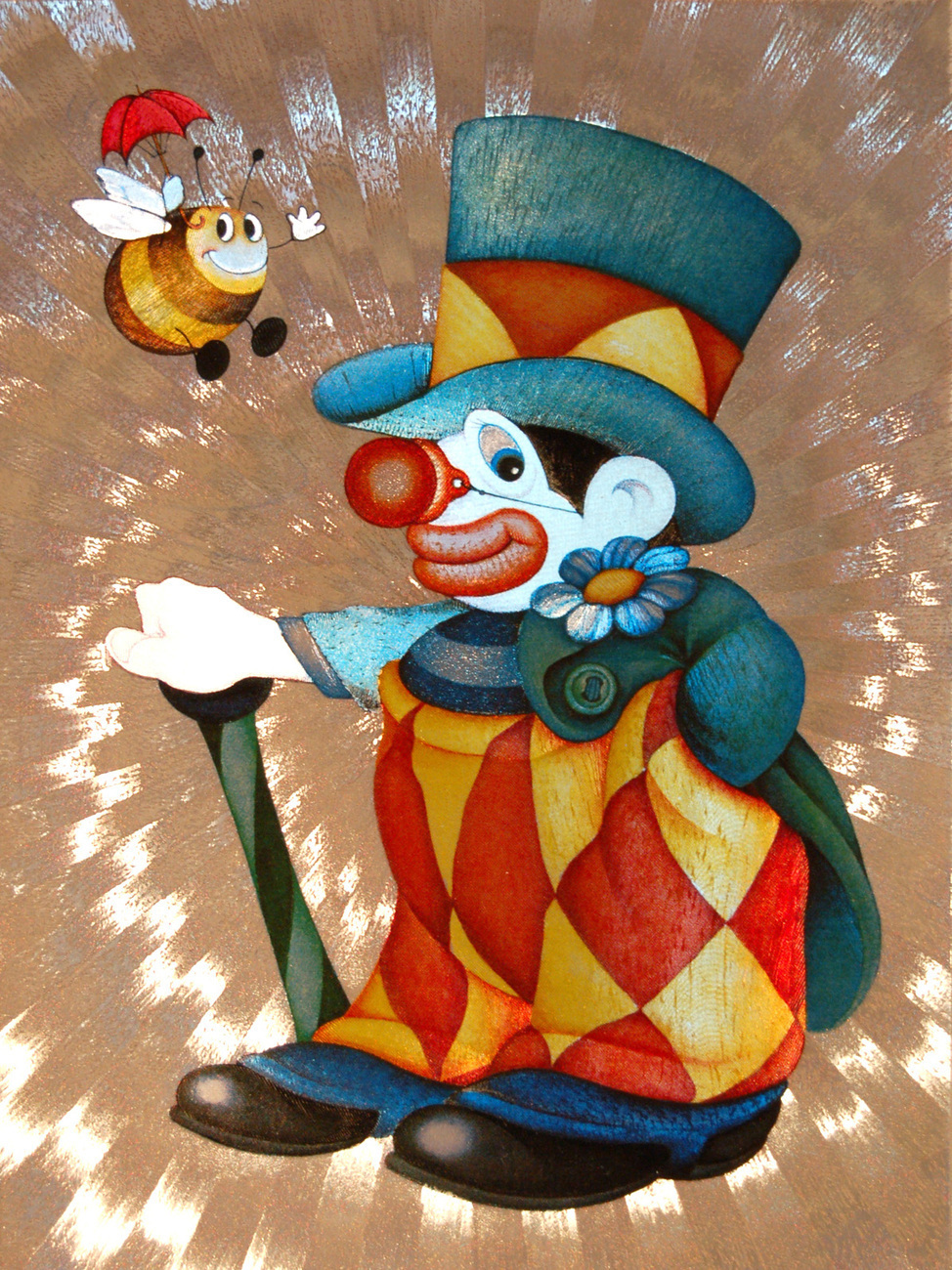 654436 clown with bee