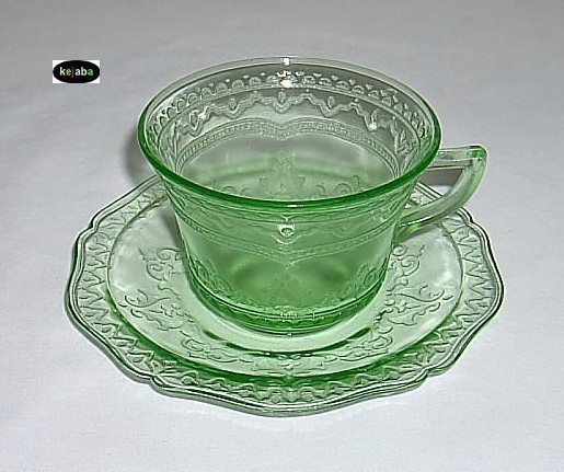 Patrician Spoke Green Cup And Saucer Federal