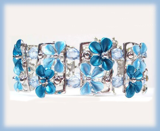 Elegant Bangle Bracelet Aqua Blue Crystal & Enamel Floral