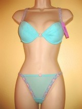 NWT MESH EMBROIDERED BRA/THONGS SET,SZ 34B/S,TURQUOISE,  GIFT - $7.95