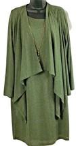 KARIN STEVNS 3 Pc Women Olive Knit Dress, Long Slv. Jacket & Necklace Sz... - $49.95
