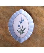 Decorative Blue Flower Plate w/Scalloped Edge, Gold Trim & Accents New - $20.50