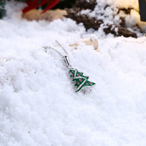 Holiday Sale Christmas Tree Pendant Emerald & CZ 18K White Gold Finish N... - $14.69