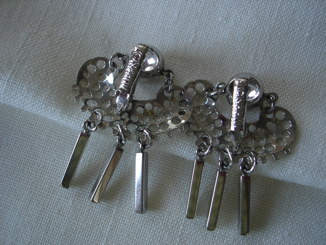 Vintage Sarah Coventry Perforated, Bar Dangles Clip Earrings