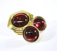 Scarf Clip and Earring Set, Button Earrings, Post Earrings, Red Cabochon... - $18.50