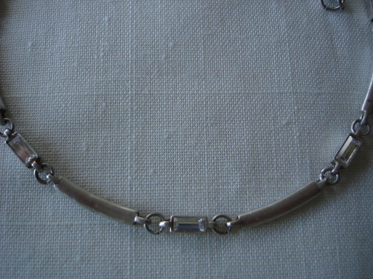Vintage Silverplated Bar Link Choker Necklace, Bracelet