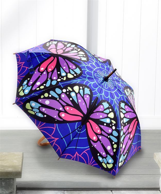 Full Size Classic Satin Butterfly Design Umbrella with Wood Handle  - 1 color