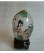 Vintage CHINESE EXPORT REVERSE PAINTED GLASS Egg Tree  Geisha Courtesan  AI - $14.80