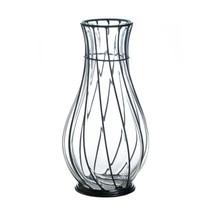 "*18242B  Short 9"" Clear Glass & Metal Art Accent Vase - $23.55"