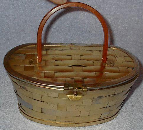 Vintage Retro Lucite and Metal Basket Weave Purse