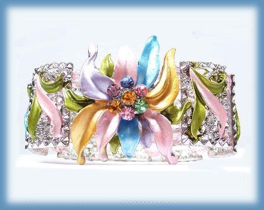Brac fancy pink blue silver gold front