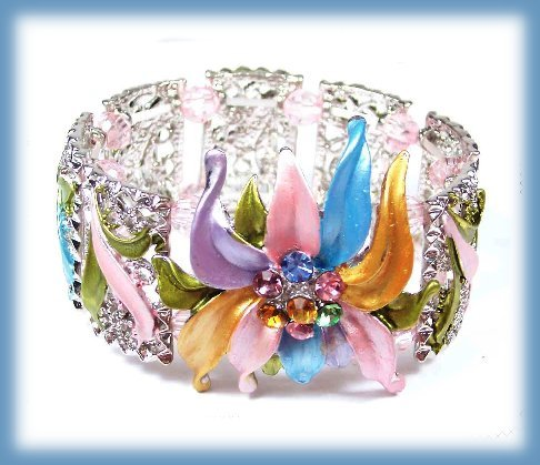Floral Cuff Bracelet Colorful Crystals, Enameled Flower