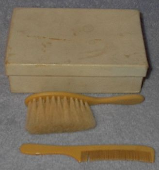 Vintage Infant Baby Comb and Brush Set Bakelite