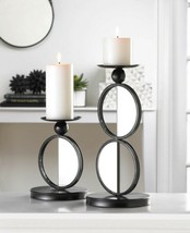 Modern Black 1 Double & 1 Single Circle Mirrored Pillar Candle Holder Stands - $40.45