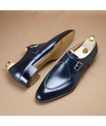 New Handmade Men's Blue Monk Strap Formal Dress Shoes - $139.99+