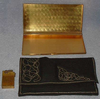 Ascot 1955 Cigarette Lighter, Case and Felt Carry Purse
