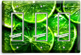 Green Lime Slices Triple Gfci Light Switch Plate Covers Vegan Kitchen Room Decor - $14.57
