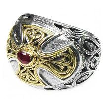 Gerochristo 2535 - Gold, Silver & Ruby - Medieval Byzantine Cross Ring  ... - $610.00