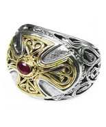 Gerochristo 2535 - Gold, Silver & Ruby - Medieval Byzantine Cross Ring  ... - $610.00