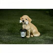 Labrador Puppy Dog w/Bone and Lantern Solar Light Garden Statue Sculptur... - $63.47