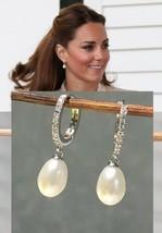 Kate Middleton Genuine Natural Pearl & Diamond Earrings Rhodium Ep estat... - $59.39