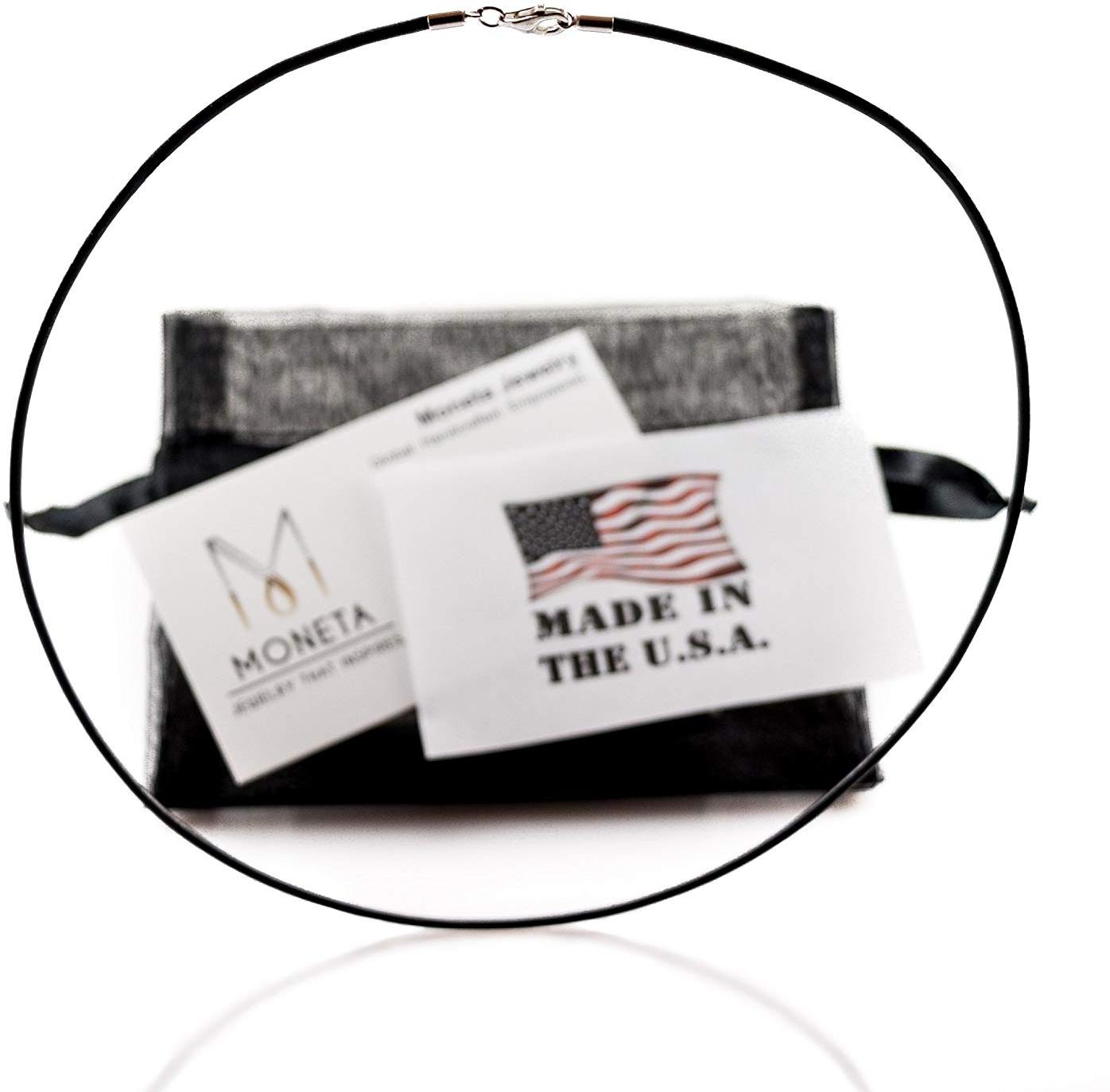 Moneta Black Genuine Greek Leather Cord Necklace, Sterling Silver Clasp, Multi-l
