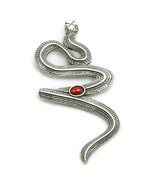 Snake-Serpent - Sterling Silver and Carnelian Large Pendant   - $98.00
