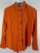 Tommy Hilfiger Haut Chemisier Sz 4 Orange Boutonné Poche Logo Vintage C76 - $13.83