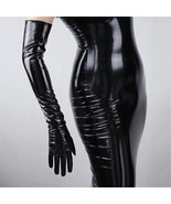 Black Patent Leather Long Leather Gloves 60cm Long Elbow High Quality PU... - $64.95